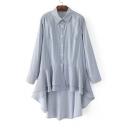 Long Sleeve Lapel Collar Striped Print Asymmetrical Ruffle Hem Tunic Shirt