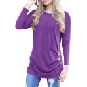 Fashion Buttons Embellished Side Long Sleeve Round Neck Plain T-Shirt