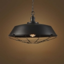 10'' Wide Classic Black Vintage LED Pendant Lighting Fixture with Wire Cage