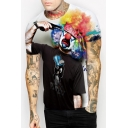 Hot Popular Digital Painted Clown Printed Short Sleeve Round Neck T-Shirt