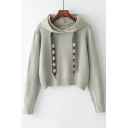 Fashion Pearl Embellished Simple Long Sleeve Hooded Comfort Sweater