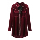 Collared Tied Neck Buttons Down Contrast Trim Velvet Shirt With Pockets