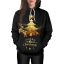 Fashion Christmas Tree Elk Pattern Long Sleeve Leisure Unisex Hoodie