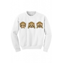Hot Fashion Cute Monkey Emoji Pattern Long Sleeve Round Neck Pullover Sweatshirt