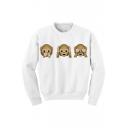 Hot Fashion Cute Monkey Emoji Pattern Long Sleeve Round Neck Pullover Sweatshirt