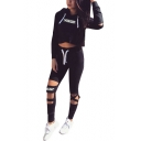 Hot Popular Sports Letter Printed Long Sleeve Cropped Hoodie with Cut Out Drawstring Pants
