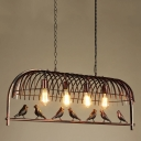 Industrial Island Pendant in Birdcage Style, Rust, 4 Light