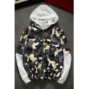 Unisex Casual Loose Classic Camouflage Pattern Zip Up Hooded Coat