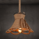 Industrial Single Pendant Light American Countryside Style E27 Lighting with Flower Rope Shade