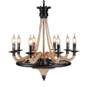 Industrial Vintage Chandelier 8 Light with E14 Lighting Candle Plate, Wrought Iron and Rope Fixture