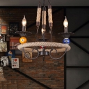 Industrial Chandelier 3 Light with Candle Shape Fixture Arm, Billiard Ball Decoration