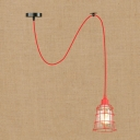 Industrial Adjustable Single Pendant Light Wrought Iron Metal Cage with Clear Glass Shade in Red