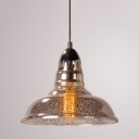 Industrial Hanging Pendant Light with Barn Shape Mercury Glass Shade for Indoor/Outdoor Lighting