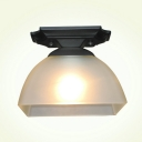 Industrial Ceiling Light Fixture Modern Style with White Glass Shade in Black Finish