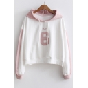 New Trendy Fashion Color Block Letter Printed Long Sleeve Hoodie