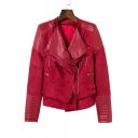 Fashion Lapel Collar Long Sleeve PU Patched Zip Up Biker Jacket