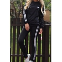 Hot Fashion Casual Sports Chic Striped Side Long Sleeve Sweatshirt with Loose Pants