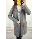 Color Block Lapel Collar Long Sleeve Long Buttons Down Cardigan with Pockets
