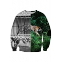 Hot Popular Color Block 3D Tiger Pattern Round Neck Pullover Sweatshirt
