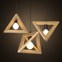 Vintage Wooden Pendant Light with 11.8''W Conical Shade