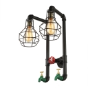 Industrial Vintage Wall Sconce with Metal Cage Frame in Black, Tap and Valve Decoration