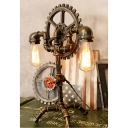 Vintage 2 Light Pipe Desk Lamp with Gear Fixture in Aged Bronze