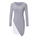Fashion Color Block Round Neck Long Sleeve Mini Bodycon Dress