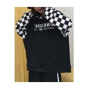 Hip Hop Style Loose Oversize Color Block Plaids Letter Printed Unisex Hoodie