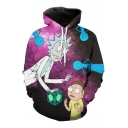 Digital Cartoon Character Printed Long Sleeve Casual Unisex Hoodie with Pockets