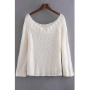 New Arrival Simple Plain Loose Casual Boat Neck Long Sleeve Sweater