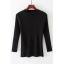 Basic Simple Plain Round Neck Long Sleeve Slim Pullover Sweater