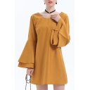 Basic Simple Plain Loose Leisure Long Sleeve Round Neck Mini Swing Dress