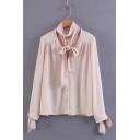 Tie Neck Lace Trim Tie Cuff Button Down Long Sleeve Blouse