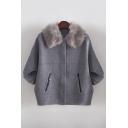Faux Fur Collar Batwing Half Sleeve Cardigan with Pockets