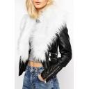 Faux Fur Oversize Collar Zipper Detail Long Sleeve Leather Biker Jacket