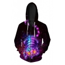 Digital Monster Animal Pattern Long Sleeve Zip Up Casual Sports Hoodie