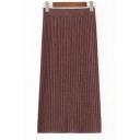 Elastic Waist Fashion Split Back Simple Plain Midi Knit Bodycon Skirt