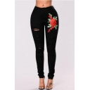 New Fashion Floral Embroidered Ripped Skinny Jeans