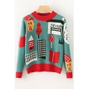 New Collection Cartoon Pattern Long Sleeve Round Neck Comfort Sweater