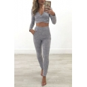 Plain V-Neck Hollow Out Shoulder Long Sleeve Tee with High Waist Skinny Pants