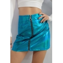 Sexy High Waist Zippered Metalic Color Mini Skirt