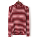 Classic Simple Striped Pattern Turtleneck Long Sleeve Slim Sweater