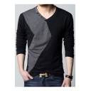 Color Block Panel V-Neck Long Sleeve Leisure Top