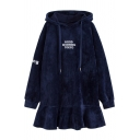 New Fashion Letter Embroidered Ruffle Hem Long Sleeve Short Dress with Hood