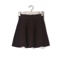 Simple Plain Elastic Waist Knitted Short Skirt in Texture