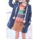 Fashion Cat Print Oversize Collar Long Sleeve Pocket Single Breasted Tunic Coat