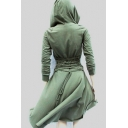 New Stylish Solid Tie Back Long Sleeve Dip Hem Hooded Dress