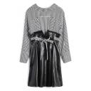 Color Block Striped Shirt Panel Drawstring Waist Short PU Dress