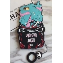 Creative Color Block Cartoon Unicorn Design Mobile Phone Case with Ring for iPhone
