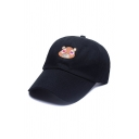 New Fashion Leisure Color Block Cartoon Bear Embroidered Baseball Cap